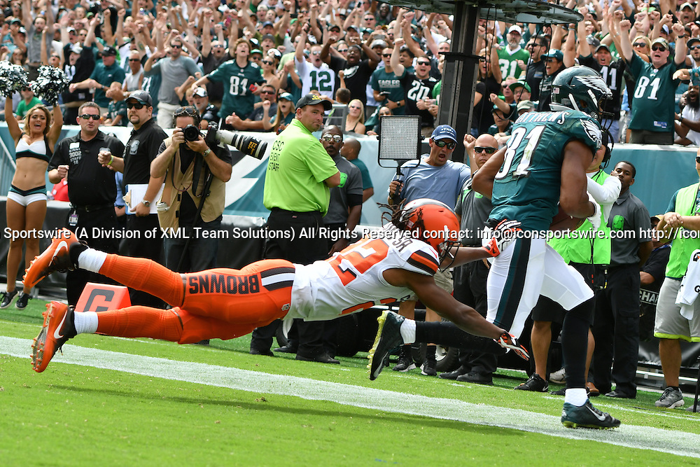 September 11, 2016: Philadelphia Eagles Wide Receiver Jordan Matthews (81) [16474] catches a touchdown during a National  Football League game between the Cleveland Browns and the Philadelphia Eagles at Lincoln Financial Field in Philadelphia, PA. (Photo by Andy Lewis/Icon Sportswire)