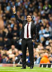 Sevilla manager Unai Emery gestures - Mandatory byline: Matt McNulty/JMP - 07966386802 - 21/10/2015 - FOOTBALL - Etihad Stadium -Manchester,England - Manchester City v Sevilla - UEFA Champions League - Group D
