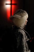 A model walks the runway wearing Thom Browne Fall 2014 Collection, <br /> Thom Browne (Designer)<br /> Jimmy Paul (Hair Stylist)<br /> Sil Bruinsma (Makeup Artist)<br /> Edward Kim (Casting Director)<br /> Julie Kandalec (Manicurist)