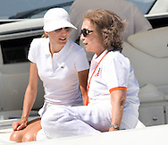 "Queen Sofia and Princess Letizia watch the final stages of the Copa Del Rey sailing regatta from the Royal Launch ""Somni"" in Palma, Mallorca."