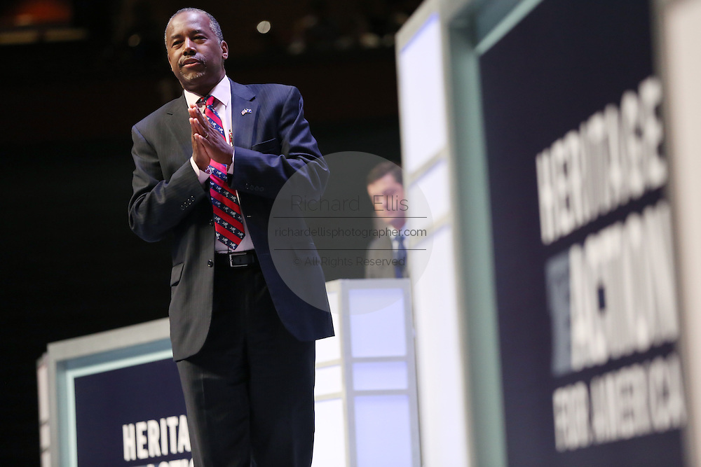 Republican presidential candidate Dr. Ben Carson speaks at the Heritage Foundation Take Back America candidate forum September 18, 2015 in Greenville, South Carolina. The event features 11 presidential candidates but Trump unexpectedly cancelled at the last minute.