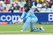 Joe Root of England plays a sweep shot during the ICC Cricket World Cup 2019 semi final match between Australia and England at Edgbaston, Birmingham, United Kingdom on 11 July 2019.