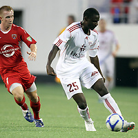 Richmond Defender Henry Kalungi (25) during the United Soccer League Pro American Division Championship soccer match between the Richmond Kickers and the Orlando City Lions at the Florida Citrus Bowl on August 27, 2011 in Orlando, Florida. Orlando won the match 3-0 to advance to the USL Pro Final.  (AP Photo/Alex Menendez)