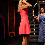 Joy Gregory, right, gives direction to Christy Godwin before a performance of Smokey Joe's Cafe Sunday June 15, 2014 at the Scottish Rite Theater in Wilmington, N.C. (Jason A. Frizzelle)