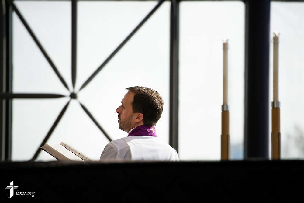 The Rev. Dr. Edward Grimenstein, associate executive director of Office of International Mission, sings during Matins at The Lutheran Church–Missouri Synod International Center chapel on Monday, March 2,  2015, in Kirkwood, Mo. LCMS Communications/Erik M. Lunsford
