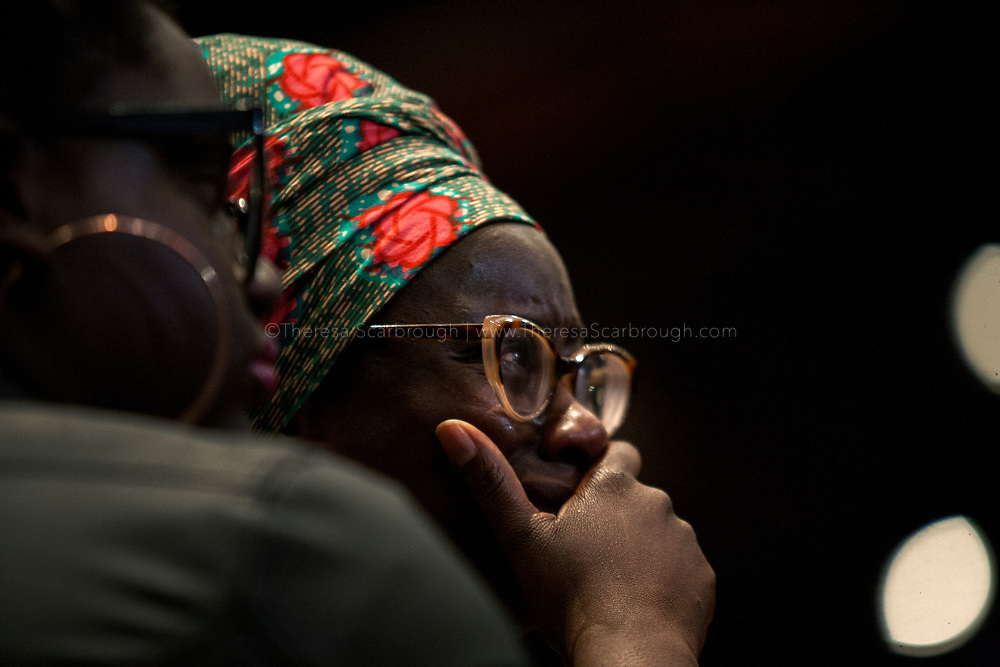 Detroit, Michigan, USA. 28th Oct, 2017. A woman tears up with emotion during a speach at the Sojourner Truth Lunch during the Women's Convention held at the Cobo Center, Detroit Michigan, Saturday, October 28, 2017
