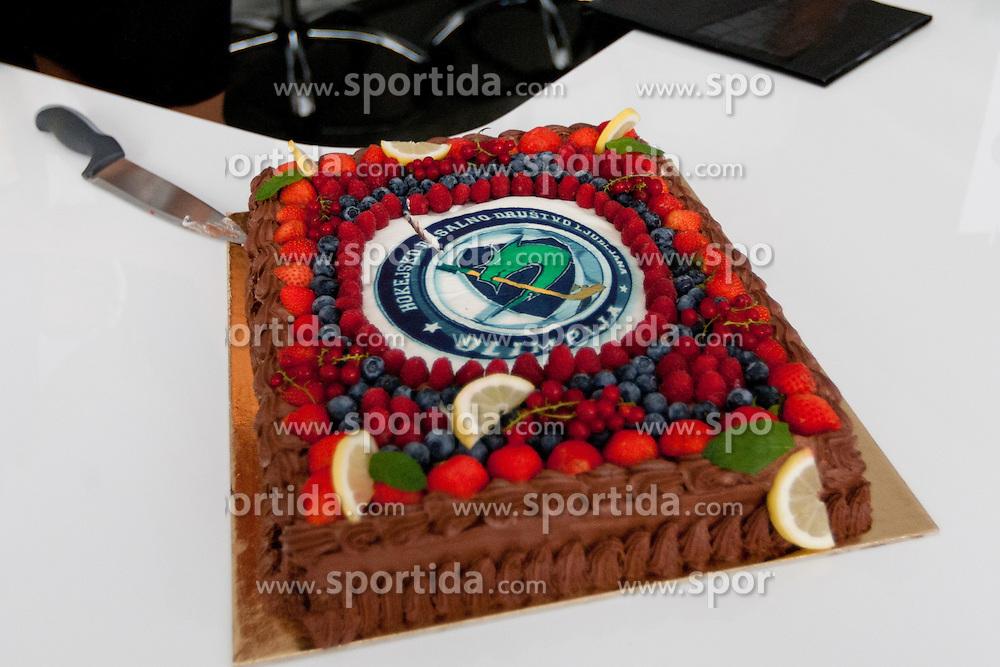 Birthday cake at HDD UPC Telemach Olimpija Press Conference about new main sponsor UPC Telemach as main sponsor of HDD Olimpija, on June 20, 2012 at UPC Telemach, Ljubljana, Slovenia. (Photo By Matic Klansek Velej / Sportida)