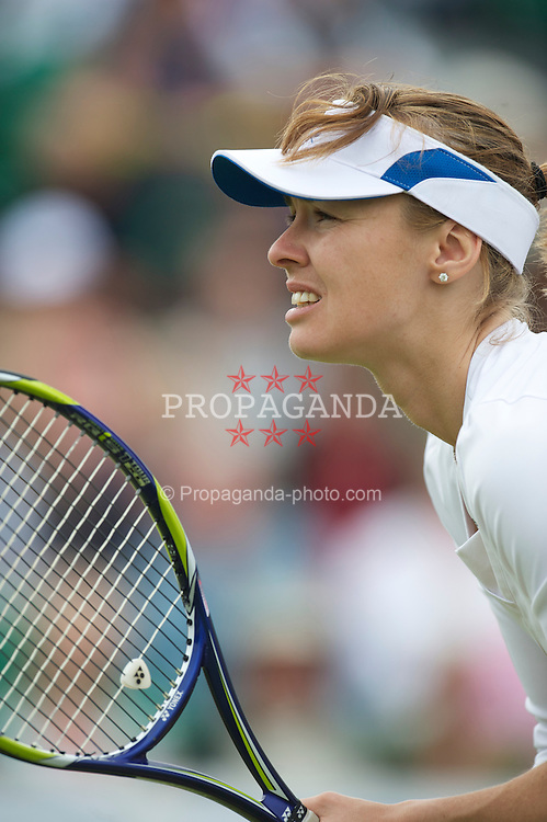 LIVERPOOL, ENGLAND - Friday, June 18, 2010: Martina Hingis (SUI) in action during the Mixed Doubles on day three of the Liverpool International Tennis Tournament at Calderstones Park. (Pic by David Rawcliffe/Propaganda)