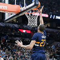 02 April 2017: Utah Jazz center Rudy Gobert (27) scores during the San Antonio Spurs 109-103 victory over the Utah Jazz, at the AT&T Center, San Antonio, Texas, USA.