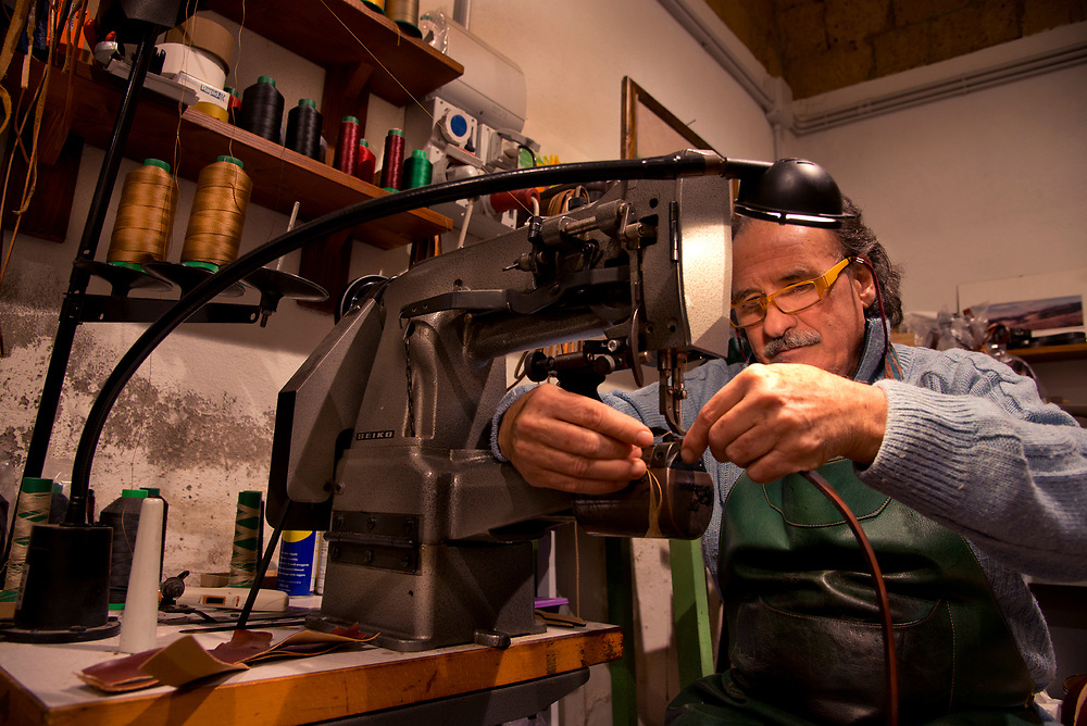 Adolfo Cozza n his Orvieto, Italy leather shop called Fusco.