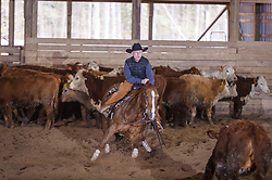 April 29 2017 - Minshall Farm Cutting 1, held at Minshall Farms, Hillsburgh Ontario. The event was put on by the Ontario Cutting Horse Association. Riding in the 25,000 Novice Horse Class is Brian Kelly on The Reyl Slim Shady owned by Eric Bouchard.