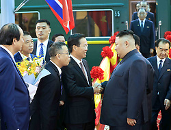 Feb. 26, 2019 - Vietnam  - Top leader of the Democratic People's Republic of Korea (DPRK) Kim Jong Un (R F) arrives at Dong Dang railway station in Lang Son Province. Kim arrived in Vietnam Tuesday morning by train for his first official visit to the country and the second summit with U.S. President Donald Trump, Vietnam News Agency reported. (Credit Image: © Vietnam News Agency/Xinhua via ZUMA Wire)