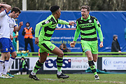 Forest Green Rovers Dayle Grubb(8) scores a goal 2-0 and celebrates during the EFL Sky Bet League 2 match between Forest Green Rovers and Mansfield Town at the New Lawn, Forest Green, United Kingdom on 24 March 2018. Picture by Shane Healey.