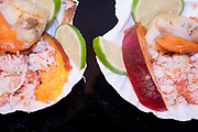 peach scallops, with spider crab and lime juice,view from above close-up in two half shells  on brilliant black bacground