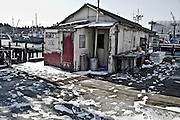 Ballard Oil Work Shack on a snowy day.