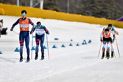 CLARION_Thomas, Guide:  BOLLET_Antoine, MESSINGER Nico GER B2 Guide: KLAUSMANN Lutz Peter competing in the ParaSkiDeFond, Para Nordic Skiing, Sprint at  the PyeongChang2018 Winter Paralympic Games, South Korea.