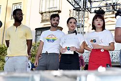 Opening Ceremony LGBTI Pride Festival Madrid 2018. 04 Jul 2018 Pictured: Agoney, Lucía Sun. Photo credit: M. Angeles Salvador/MEGA TheMegaAgency.com +1 888 505 6342