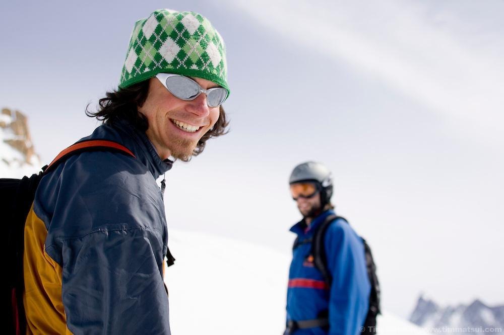 Caucasian male skiers in Chamonix, France.