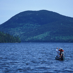 Acadia N.P., ME. Canoeing. Long Pond-North End.  Mansell Mountain.