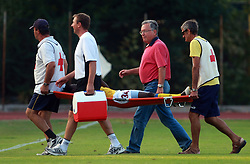 Adewale Amusan (34) of Koper injured at 7th Round of PrvaLiga Telekom Slovenije between FC Koper vs NK Domzale, on August, 2008, in SRC Bonifika, in Koper, Slovenia. (Photo by Vid Ponikvar / Sportal Images)