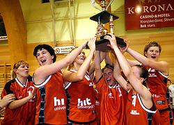 Nina Grilanc, Lidija Becanovic, Sabina Felc, Branka Vukicevic and Zorka Bilic celebrate at finals of Slovenian women basketball 1st league between Hit Kranjska Gora and ZKK Merkur Celje, on May 15, 2007, in Kranjska Gora, Slovenia. (Photo by Vid Ponikvar / Sportida)