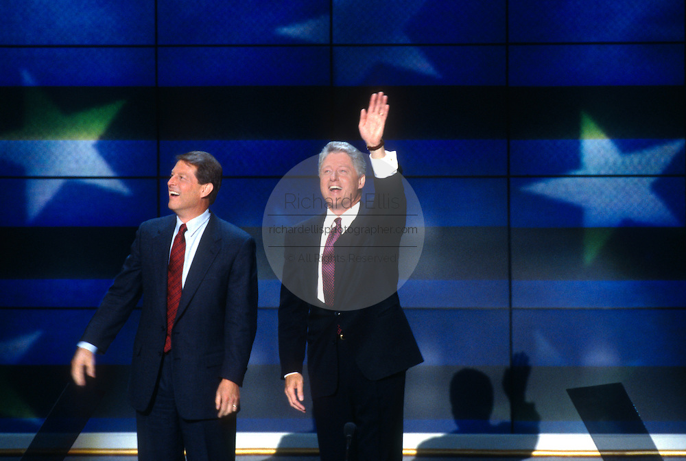 U.S President Bill Clinton and running mate Vice President Al Gore wave after they accepted the nomination for the democrat party at the 1996 Democratic National Convention August 29, 1996 in Chicago, IL.