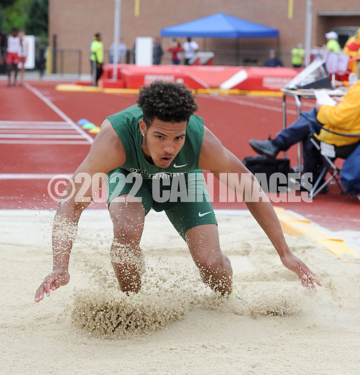 Taro Gaither of Pemberton High School competes in the long jump Burlington County Track and Field Open Championship Boys and Girls at Rancocas Valley High School Saturday May 21, 2016 in Rancocas, New Jersey. (Photo by William Thomas Cain)