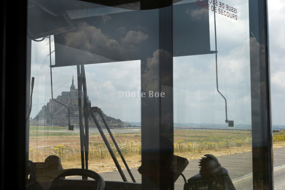 Mont Saint Michel seen from the shuttle bus, Normandy, France