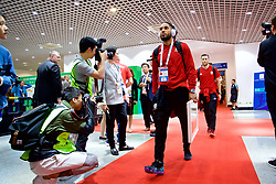 NANNING, CHINA - Monday, March 26, 2018: Wales' captain Ashley Williams arrives before the 2018 Gree China Cup International Football Championship Final between Wales and Uruguay at the Guangxi Sports Centre. (Pic by David Rawcliffe/Propaganda)