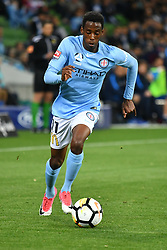 October 6, 2017 - Melbourne, Victoria, Australia - BRUCE KAMAU (11) of Melbourne City controls the ball in the round one match of the A-League between Melbourne City and Brisbane Roar at AAMI Park, Melbourne, Australia. Melbourne won 2-0 (Credit Image: © Sydney Low via ZUMA Wire)