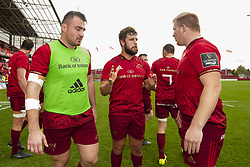 September 30, 2017 - Limerick, Ireland - Niall Scannell, Rhys Marshall and John Ryan of Munster celebrate during the Guinness PRO14 Conference A Round 5 match between Munster Rugby and Cardiff Blues at Thomond Park in Limerick, Ireland on September 30, 2017  (Credit Image: © Andrew Surma/NurPhoto via ZUMA Press)