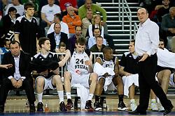 Players of Partizan and Coach of Partizan Dusko Vujosevic at first semifinal match of League NLB Final Four tournament  between KK Partizan Beograd and Hemofarm STADA Vrsac, on April 23, 2010, in Arena Zagreb, Zagreb, Croatia.  (Photo by Vid Ponikvar / Sportida)