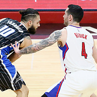 11 January 2017: LA Clippers guard J.J. Redick (4) defends on Orlando Magic guard Evan Fournier (10) during the LA Clippers 105-96 victory over the Orlando Magic, at the Staples Center, Los Angeles, California, USA.