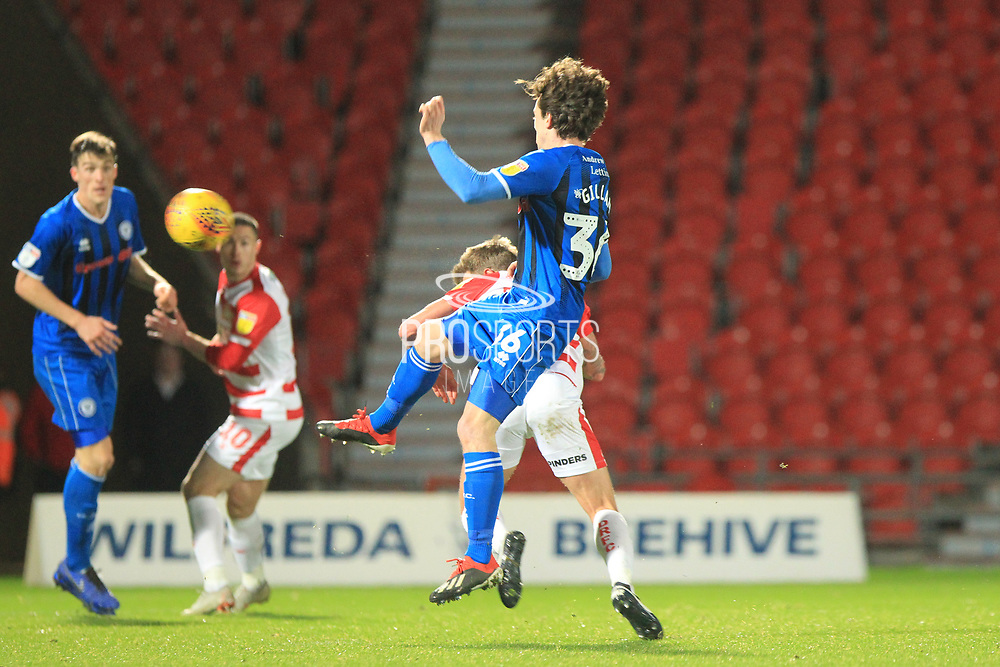 GOAL James Coppinger scores a diving header to make it 5-0 during the EFL Sky Bet League 1 match between Doncaster Rovers and Rochdale at the Keepmoat Stadium, Doncaster, England on 1 January 2019.