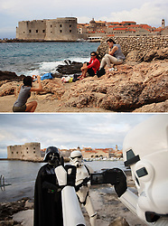 08.03.2016, Dubrovnik, CRO, Star Wars: Episode VIII, Drehort Dubrovnik, im Bild oberes Foto: Touristen in der Stadt - unteres Foto: Mitglieder der MOS Croatia Spaceport als Darth Vader und Sturmtruppen verkleidet in der Altstadt wo die Dreharbeiten zu Star Wars Episode VIII am 8. Mearz beginnen sollen und neune Tage andauern. // Tourists enjoying photographing in the old town, Bottom photo: 27.02.2016, Croatia, Dubrovnik - Members of the association of fans of Star Wars - Mos Croatia Spaceport dressed as a Stormtrooper and Darth Vader walked the old town where everything is ready to start filming Star Wars: Episode VIII. Filming will began on March 8 and will last for nine days.The set of the new Star Wars film is to be protected by drones to stop fans using their own flying gadgets to get a sneak peek of Episode VIII. Dubrovnik, Croatia on 2016/03/08. EXPA Pictures © 2016, PhotoCredit: EXPA/ Pixsell/ PIXSELL<br /> <br /> *****ATTENTION - for AUT, SLO, SUI, SWE, ITA, FRA only*****