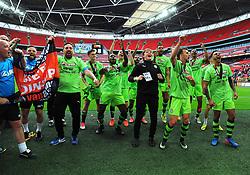 Forest Green Rovers players and atff celebrate promotion to the football league - Mandatory by-line: Nizaam Jones/JMP - 14/05/2017 - FOOTBALL - Wembley Stadium- London, England - Forest Green Rovers v Tranmere Rovers - Vanarama National League Final