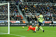 Ciaran Clark (#2) of Newcastle United scores Newcastle United's second goal (2-1) during the Premier League match between Newcastle United and Bournemouth at St. James's Park, Newcastle, England on 9 November 2019.