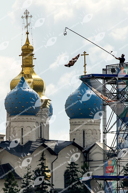 Diving structure in front of Kremlin<br /> Men Final<br /> FINA High Diving World Cup 2014<br /> Kazan Tatartsan Russsia RUS Aug. 8 to 10 2014<br /> Kazanka River  Day03- Aug.10<br /> Photo G. Scala/Deepbluemedia