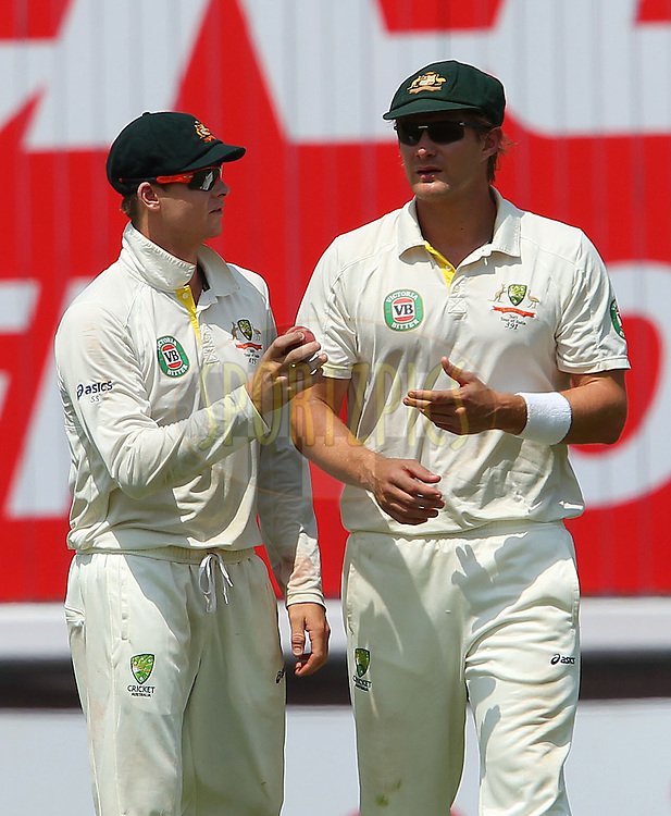 Steven Smith of Australia andShane Watson of Australia during day 2 of the 4th Test Match between India and Australia held at the Feroz Shah Kotla stadium in Delhi on the 23rd March 2013..Photo by Ron Gaunt/BCCI/SPORTZPICS ..Use of this image is subject to the terms and conditions as outlined by the BCCI. These terms can be found by following this link:..http://www.sportzpics.co.za/image/I0000SoRagM2cIEc