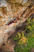 "Legendary climber Lynn Hill climbing ""Blocky Horror Show"" 12d in Rifle Mountain Park, Rifle Colorado."