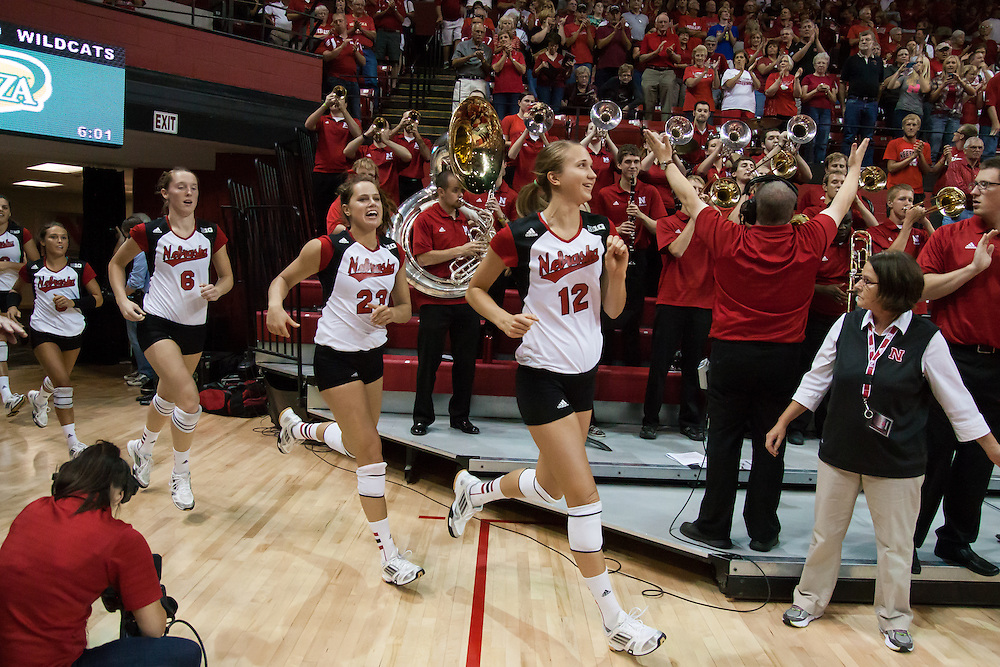 September 6, 2013: Morgan Broekhuis #12 of the Nebraska Cornhuskers leads the Huskers on the court to take on Villanova at the Devaney Sports Center in Lincoln, Nebraska. Nebraska defeated Villanova three sets to one.