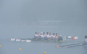 Hamburg. GERMANY.   GBR JM8+. Liam TUSTIN, George PEARCE, Alexander BARAKAT, Matthew ALDRIDGE, Henry LAMBE, James CLARKE, Luke TOWER, William ENGLAND and cox, Alex GASS turning at the end of the course in the Foggy and misty conditions, Friday, Morning training. at the 2014 FISA Junior World rowing. Championships.  08:07:33  Friday  08/08/2014  [Mandatory Credit; Peter Spurrier/Intersport-images] © Peter SPURRIER, Atmospheric, Rowing