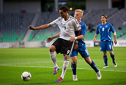 Said Benkarit of Germany vs Emil Asmundsson of Iceland during the UEFA European Under-17 Championship Group A match between Iceland and Germany on May 7, 2012 in SRC Stozice, Ljubljana, Slovenia. Germany defeated Iceland 1-0. (Photo by Vid Ponikvar / Sportida.com)
