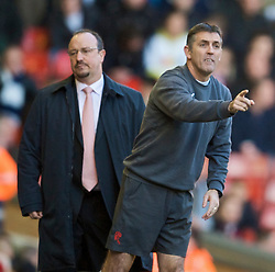 LIVERPOOL, ENGLAND - Saturday, January 30, 2010: Liverpool's manager Rafael Benitez and Bolton Wanderers' manager Owen Coyle during the Premiership match at Anfield. (Photo by: David Rawcliffe/Propaganda)
