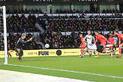 Derby County forward Martyn Waghorn goes close to scoring with a diving header during the EFL Sky Bet Championship match between Derby County and Huddersfield Town at the Pride Park, Derby, England on 15 February 2020.