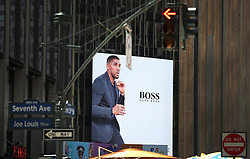 A general view of a Hugo Boss advert featuring Anthony Joshua outside Madison Square Garden in New York.