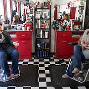 Bonnie Stiltner (left) and her daughter Stephanie Hurley, own the Special Touch hair salon in Grundy, Virginia. Grundy, the county seat of Buchanan County, in the heart of Appalachia and coal country, is the most pro-Trump county in America.