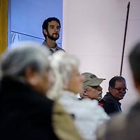 Matt Piccarello listens to comments from the audience during the Zuni Mountain Landscape Collaborative meeting at the Octavia Fellin Library in Gallup Tuesday.