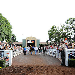 American Pharoah is escorted through the paddock area as thousands of fans look on since becoming the first racehorse to win the Triple Crown after winning the Kentucky Derby, Preakness and Belmont Stakes at Santa Anita Park in Arcadia, Calif., on Saturday, June 27, 2015.<br /> (Photo by Keith Birmingham/ Pasadena Star-News)