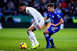 Josh Murphy of Cardiff City takes on Marc Albrighton of Leicester City - Mandatory by-line: Robbie Stephenson/JMP - 29/12/2018 - FOOTBALL - King Power Stadium - Leicester, England - Leicester City v Cardiff City - Premier League